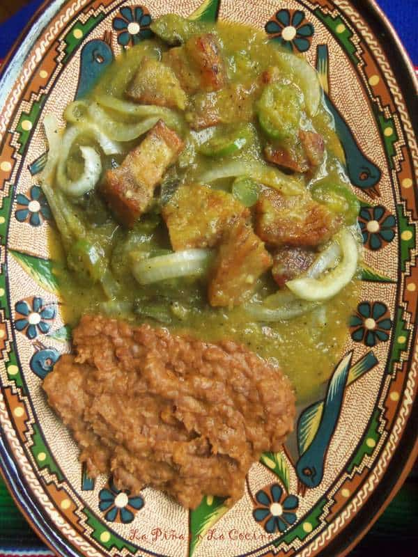 Chicharrones en Salsa Verde with Beans Plated