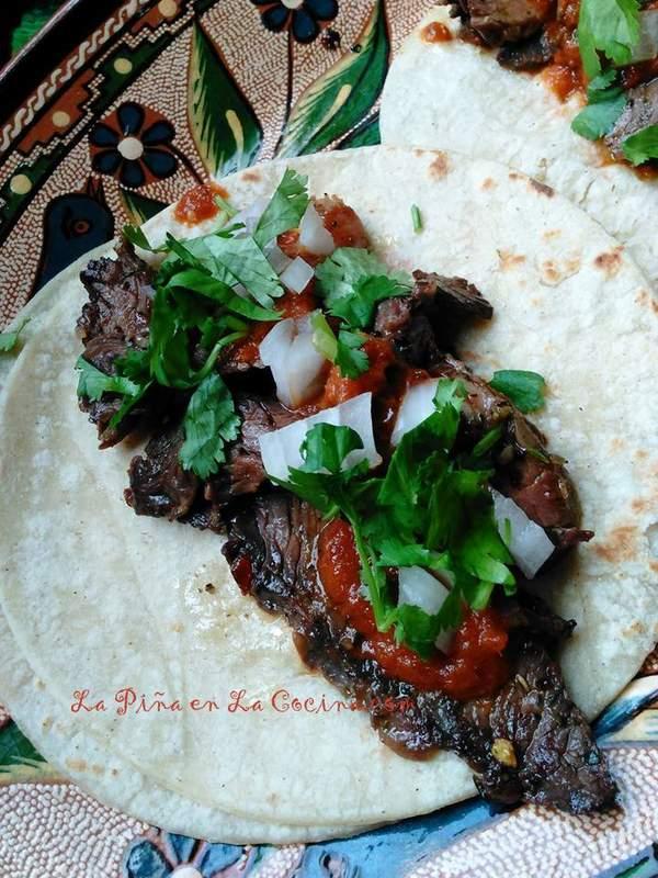 Carne Asada Tacos with Chile Morita/Piquin Salsa