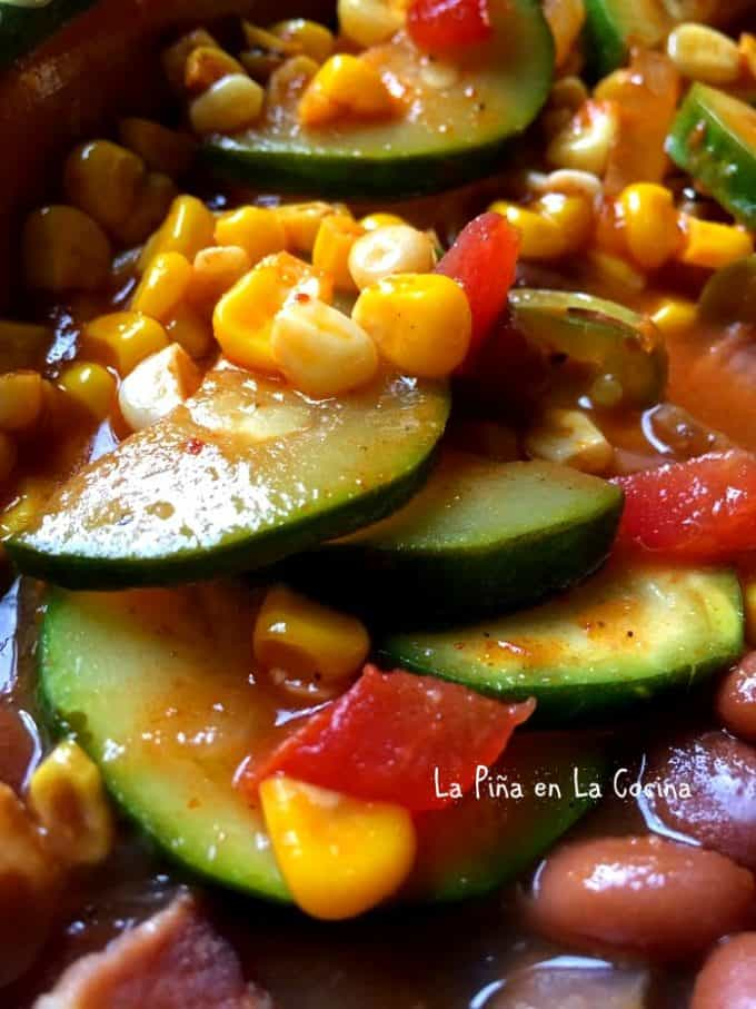 Calabacitas Con Elote- Zucchini, Corn and Cheese in Salsa