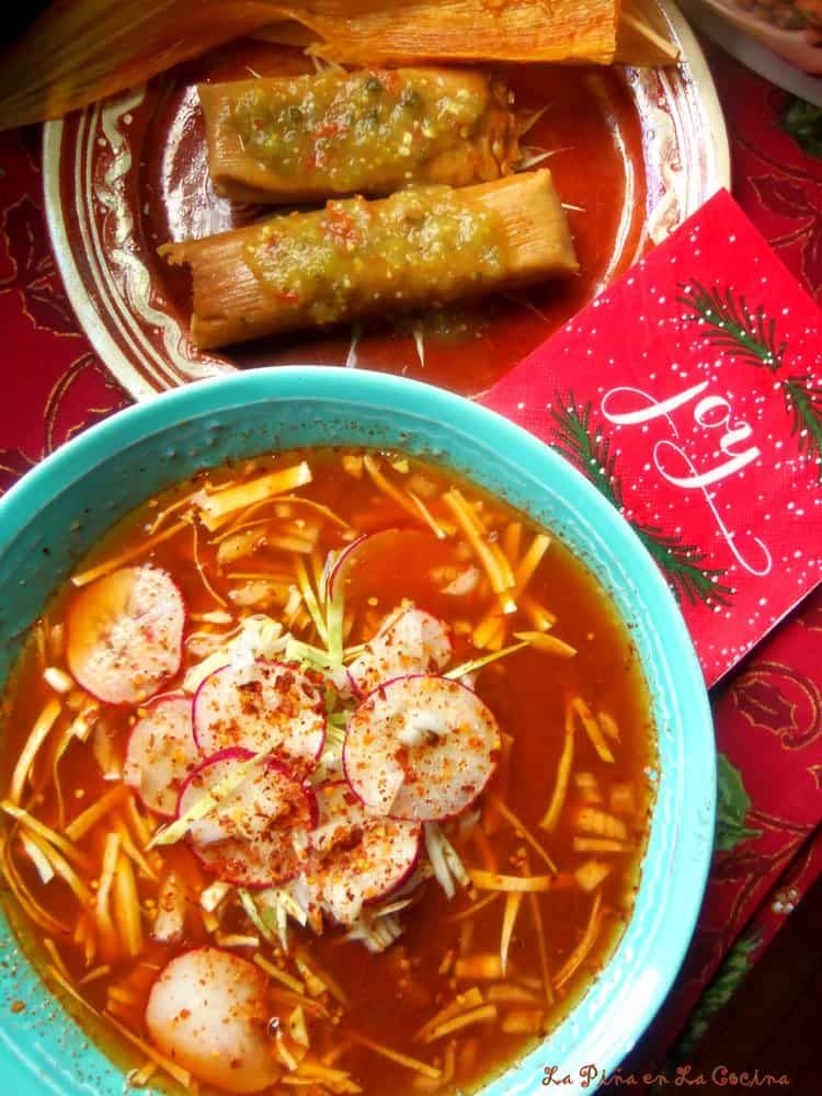 Red Chile Pork Pozole in a large bowl, tamales on the side #pozole
