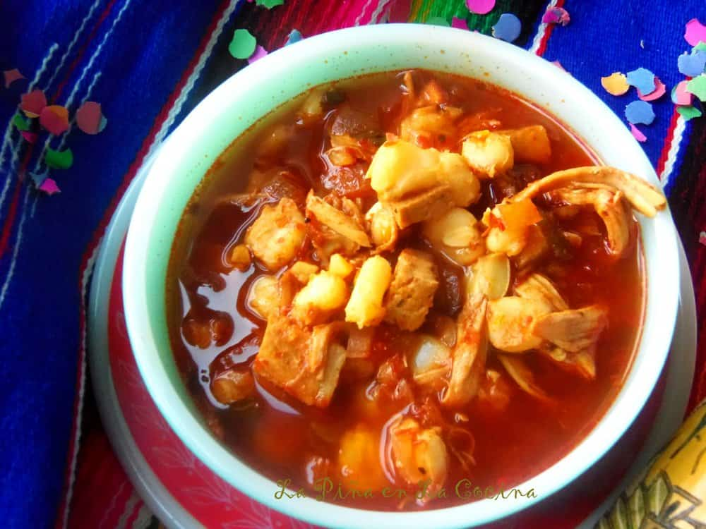 Red Chile Turkey Pozole #turkeypozole