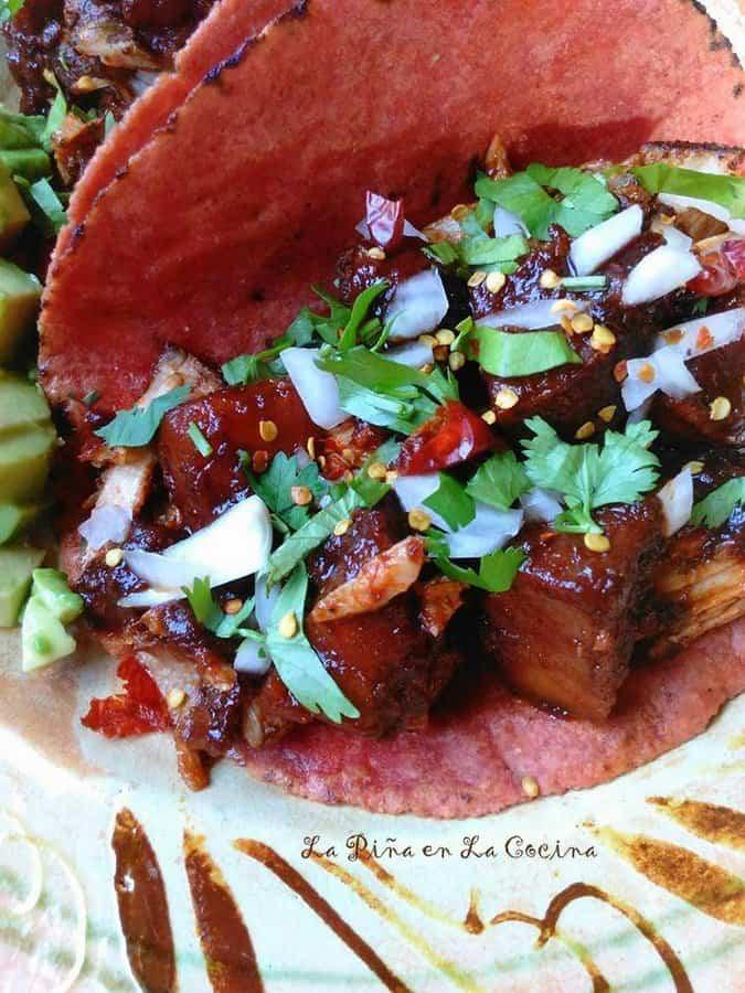 Asado de Puerco-Chile Colorado Con Papas Tacos