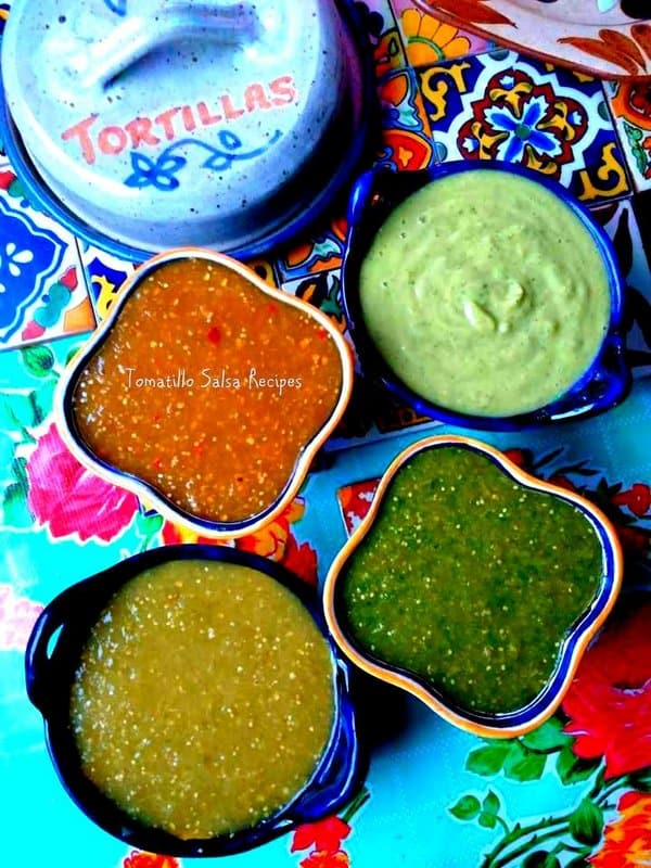 Four variations of tomatillo salsa's in separate bowls