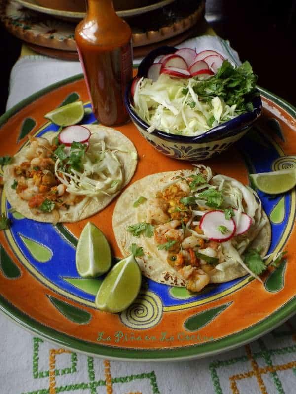 Tacos de Flor de Calabaza Con Camarones