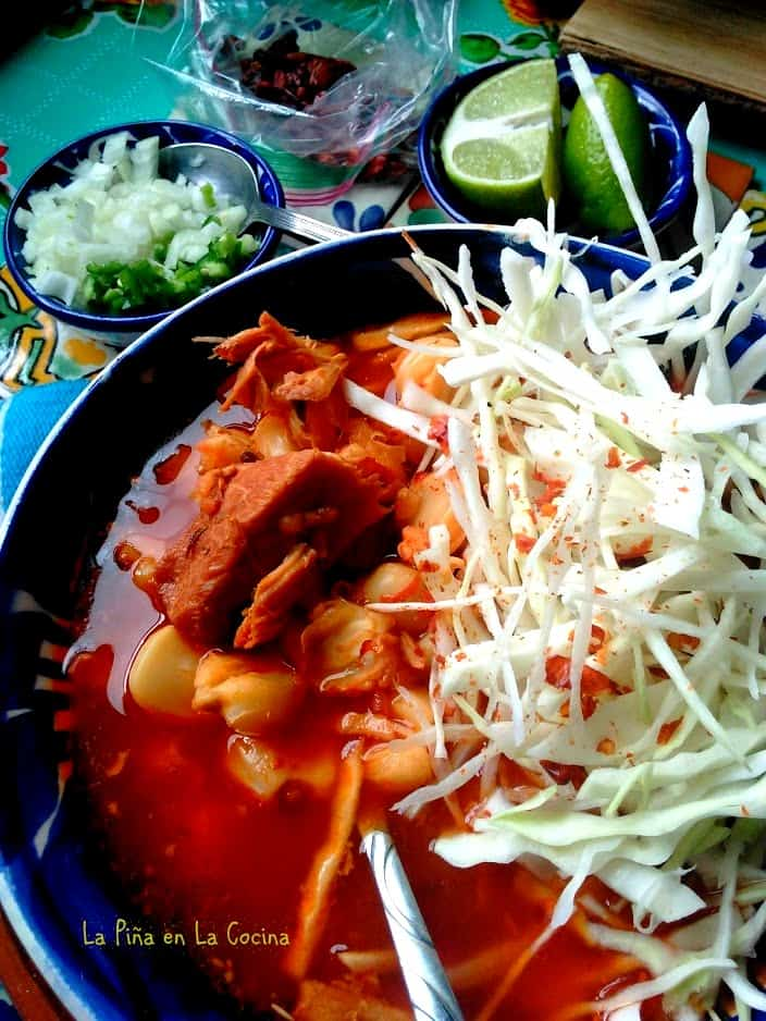 Pozole in a bowl close up