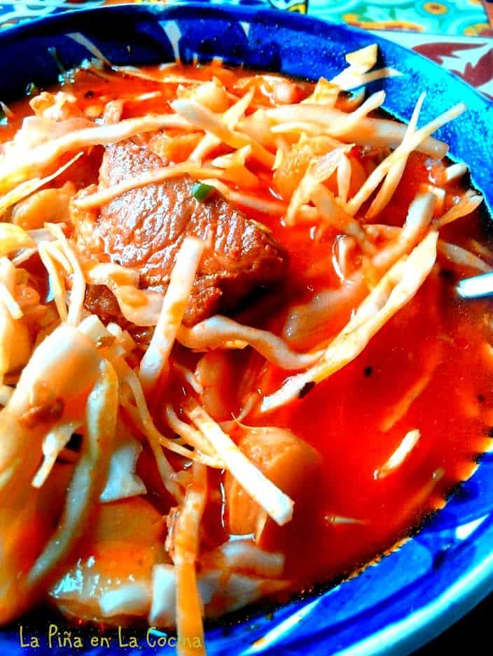 Red chile pork pozole close up