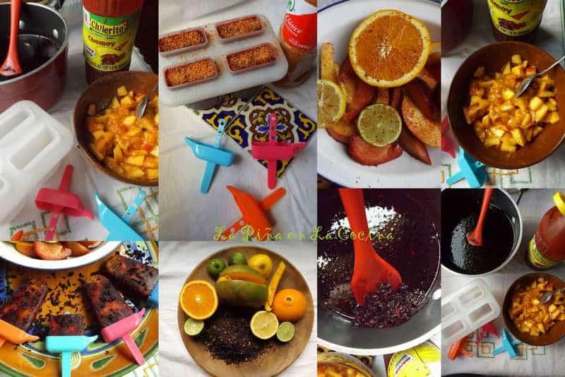 Paletas-Agua de Jamaica Con Frutas y Chile