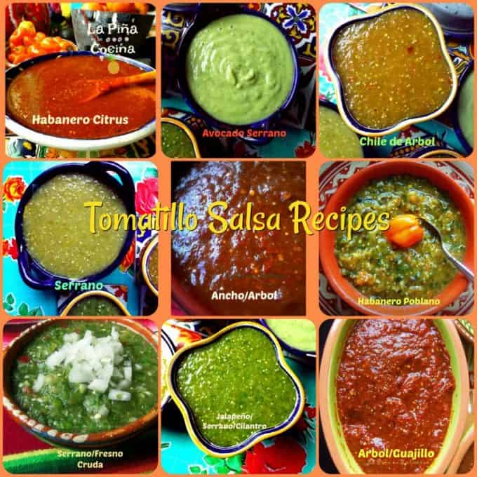 Collage of nine tomatillo salsa recipes