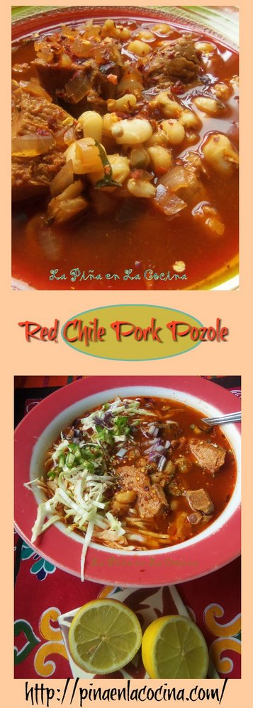 red chile pork pozole long pin image for Pinterest