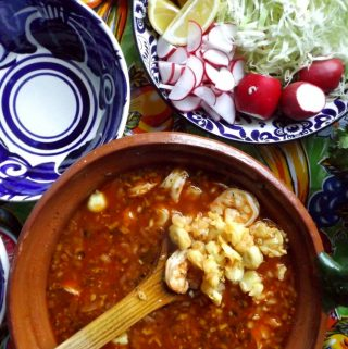 Pozole de Camaron~Shrimp and Hominy Soup in a Chile Guajillo Broth