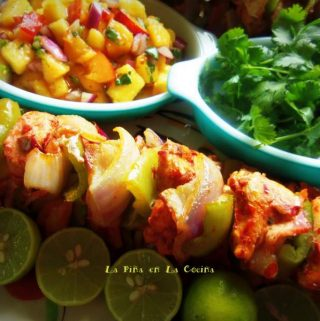 Alambre de Pollo-Red Chile Marinated Chicken Skewers