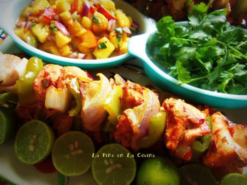 Alambres de Pollo-Red Chile Marinated Chicken Skewers