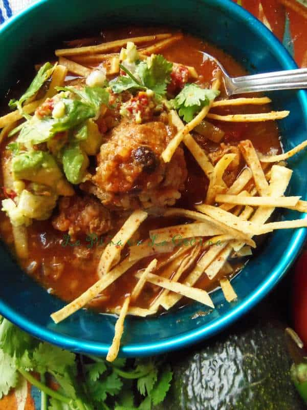 Beef and Black Bean Albondigas in a Chili Broth