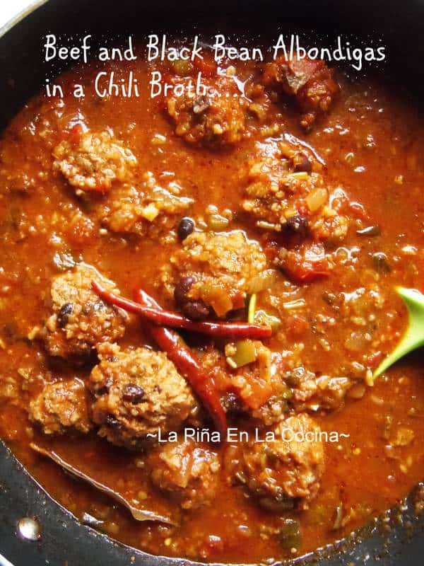 Beef Chili Albondigas with Black Beans