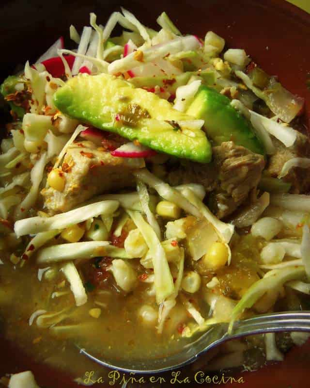 Pork Pozole in a Tomatillo Broth