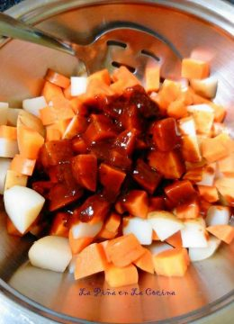 Carrots and Potatoes with Chile Ancho Sauce