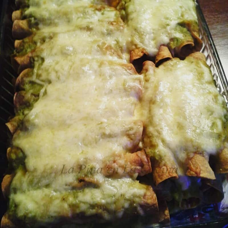 Green Chile Chicken Taquitos, Salsa Verde and Chihuahua Cheese