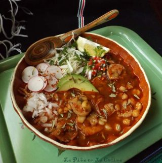 Pozole de Camaron~Shrimp and Hominy Soup in a Chile Guajillo Broth