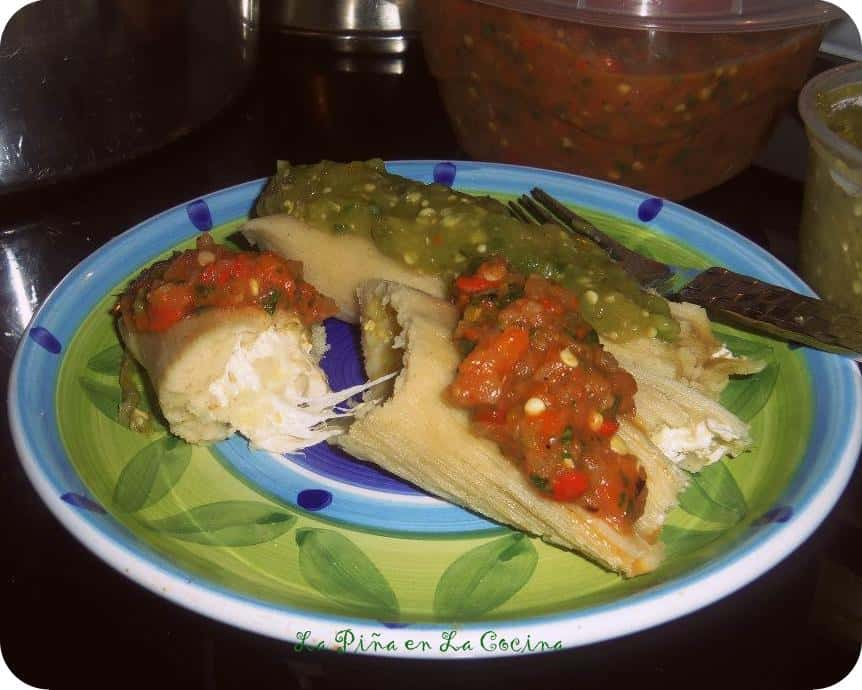 Green Chile and Cheese Tamal