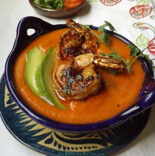 Spicy Gazpacho with Shrimp