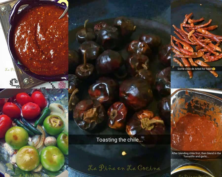 collage of chile cscabel salsa ingredients