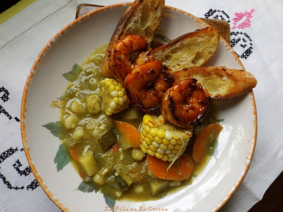 Fire Roasted Green Chile Vegetable Pozole with Chipotle Shrimp