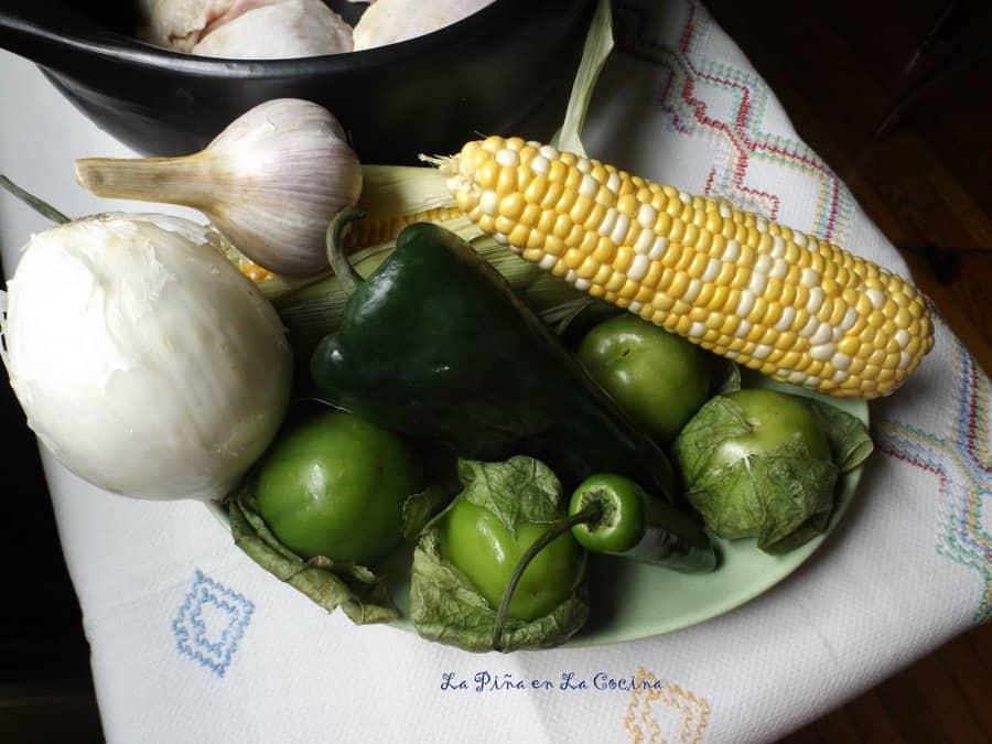 Pozolillo de Pollo-Fresh Corn and Chicken Soup in a Poblano Tomatillo Broth