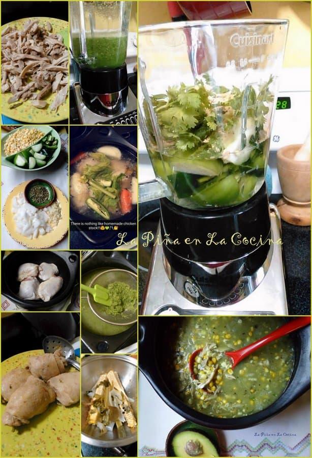 Pozolillo de Pollo _Fresh Corn and Chicken Soup in a Poblano Tomatillo Broth