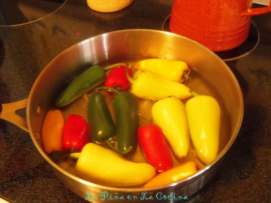 Assorted Chiles-Blistering and softening in hot oil