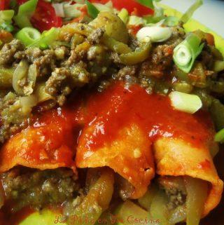 Chile Verde Beef Picadillo~Enchiladas!