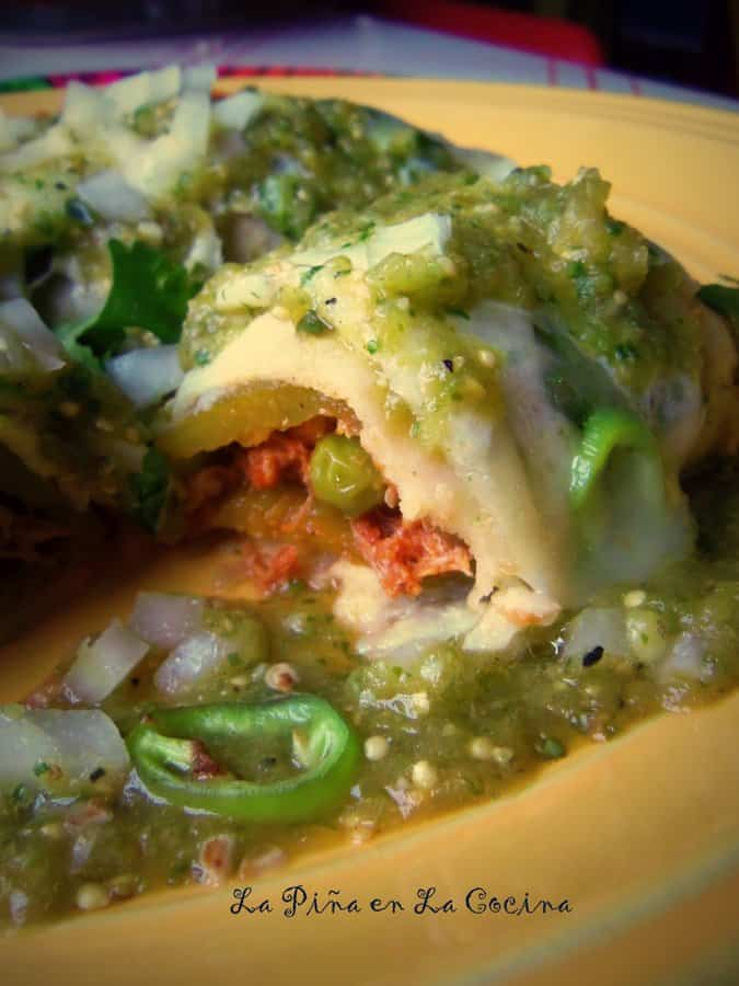 Chile Relleno Chicken Enchiladas