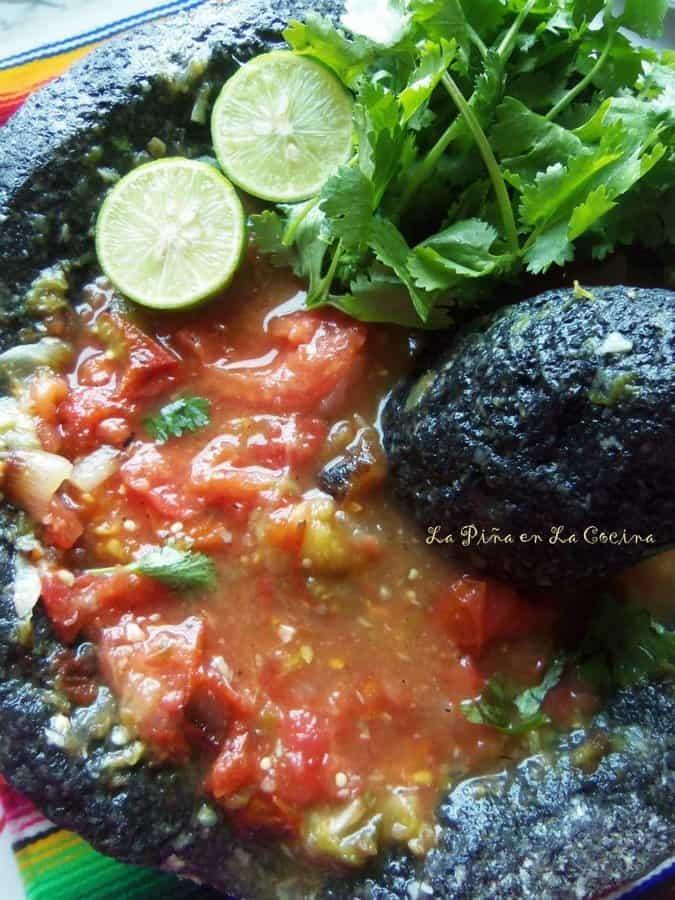 Salsa Molcajeteada-Roasted Salsa in the Molcajete