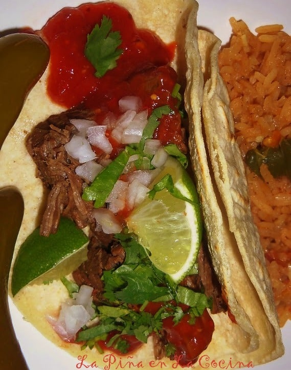 Slow Cooker Beer Braised Beef Tacos with Toasted Chile de Arbol Salsa ...