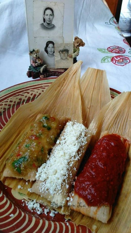 Three Fresh Corn Tamal with Cheese, green Chile and Jalapeño