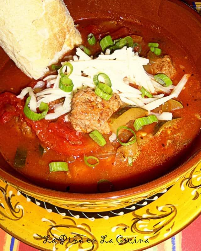Caldo de Calabacitas Con Salchichas-Zucchini and Sausage Soup