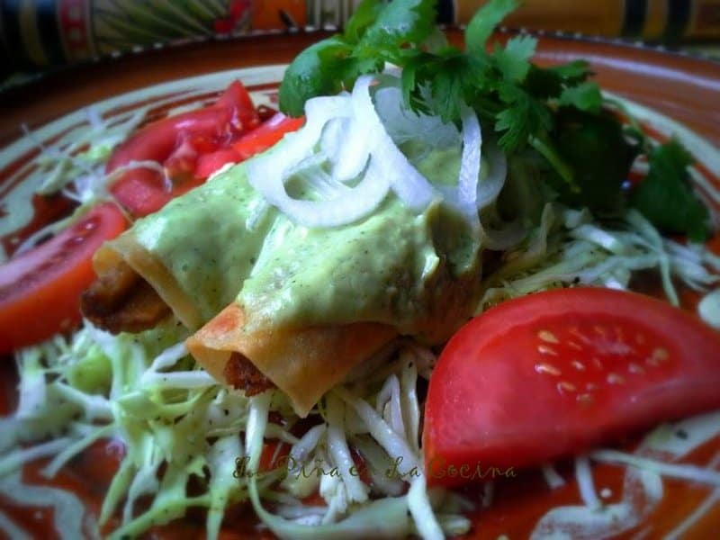 Taquitos/Flautas with Tomatillo Avocado Salsa