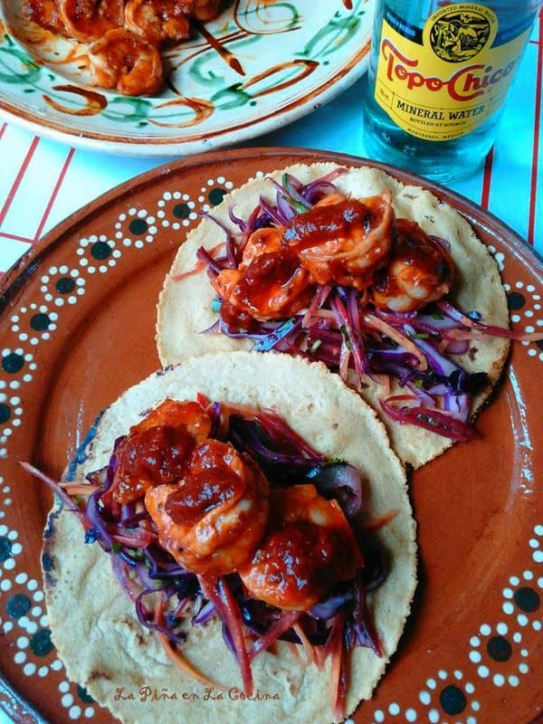 Chile Cascabel Shrimp Tacos with Slaw