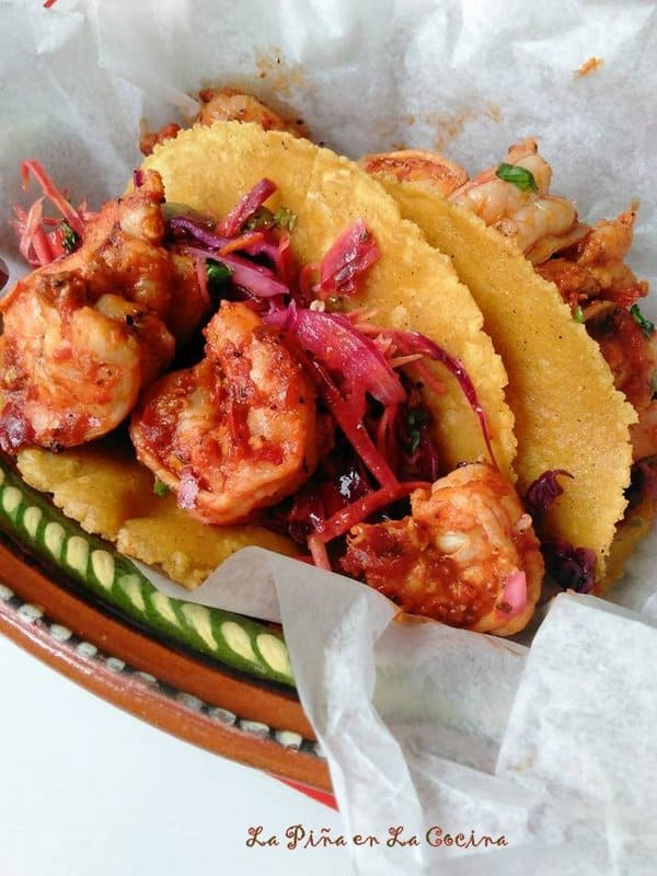 Chile Cascabel Shrimp Tacos with Slaw