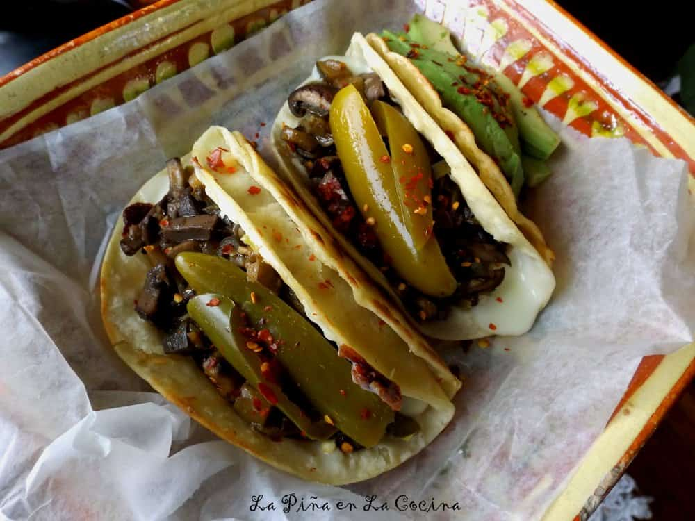 Mushroom Tacos garnished with jalapeno strips on deli paper #tacos