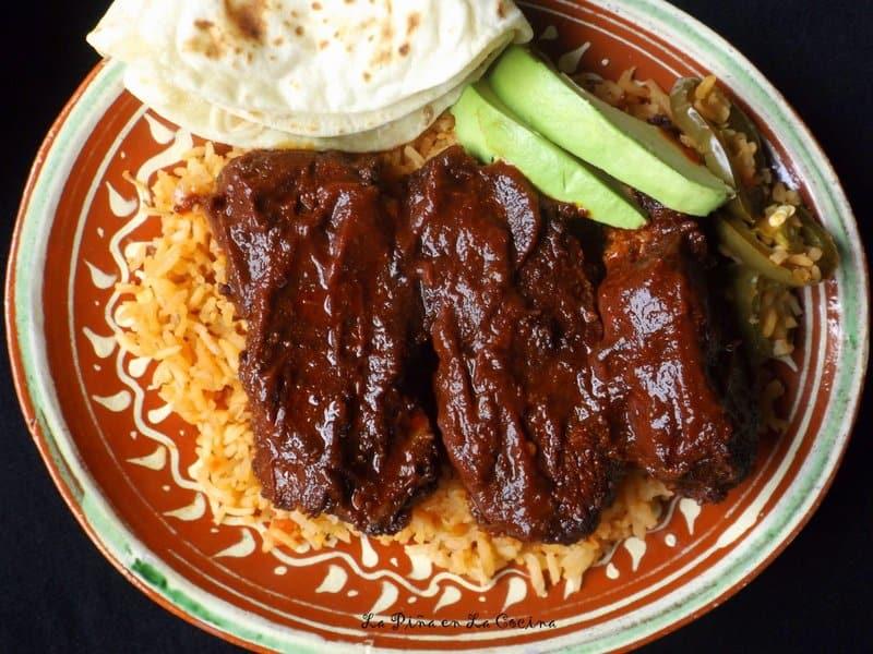 Costillas de Puerco en Chile Ancho-Oven Roasted Red Chile Pork Ribs