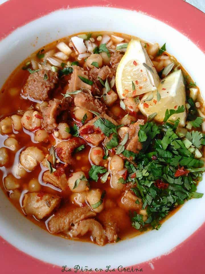 Menudo Rojo-Red Chile Beef Tripe and Hominy Soup