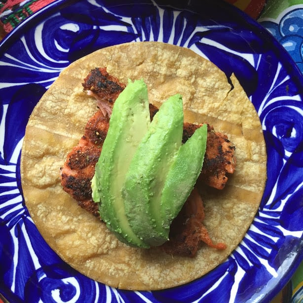 Blackened Salmon Fish Taco with Avocado