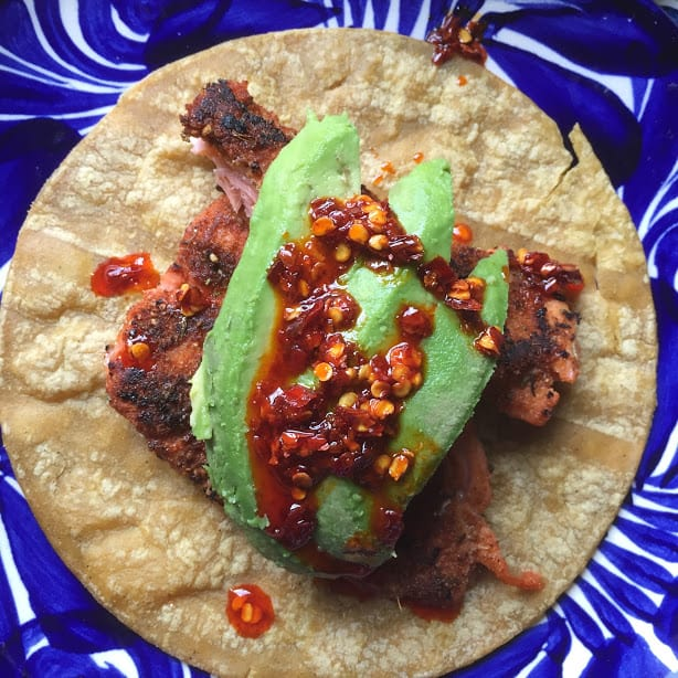 Blackened Salmon Taco with avocado and salsa macha