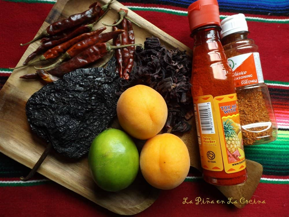 Ingredients for for homemade chamoy