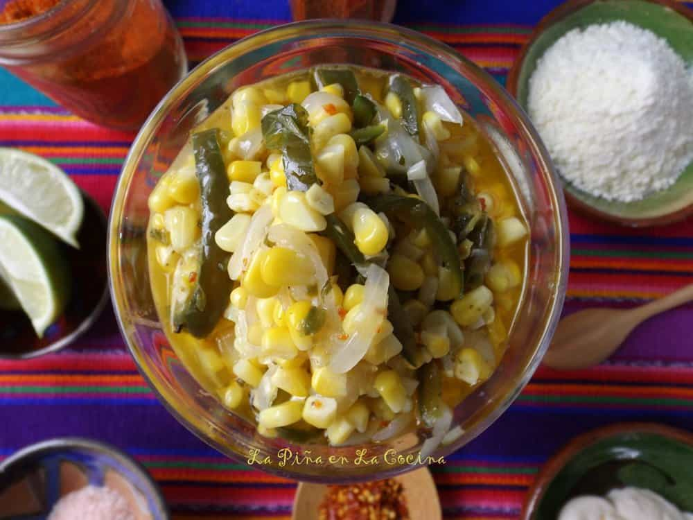 Esquites-Warm Corn Cup in glass cup before garnish