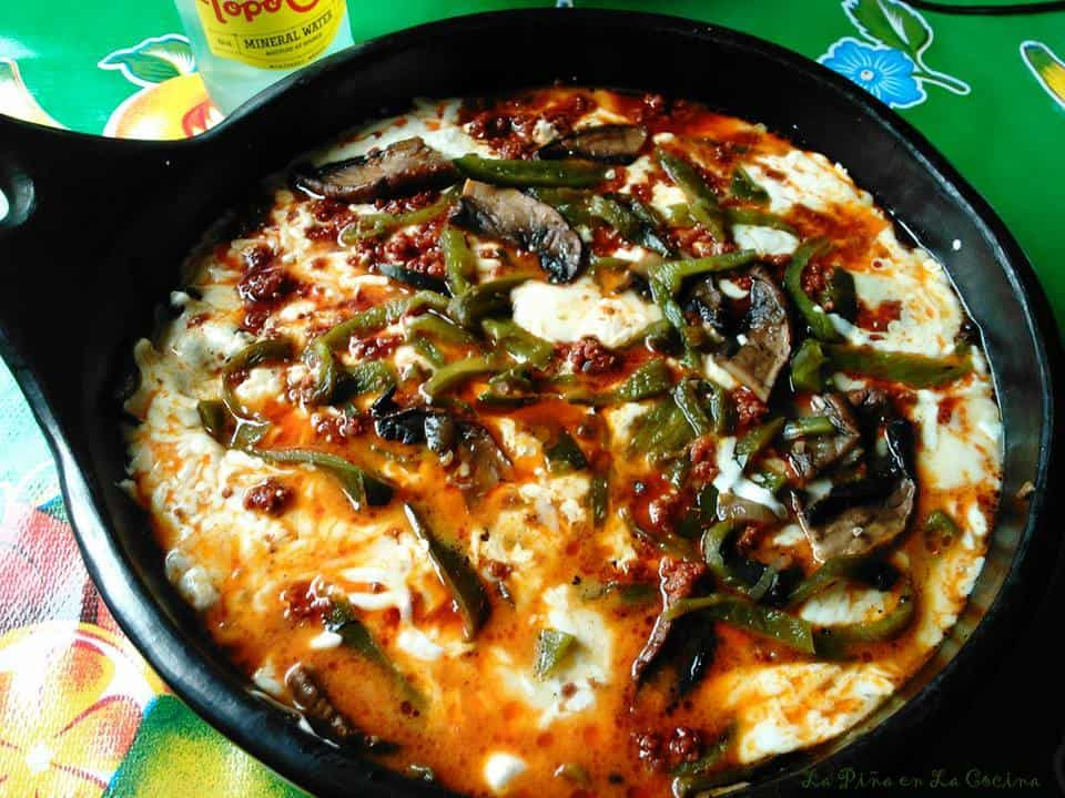 Queso Fundido-Mushroom, Poblano and Chorizo Queso Fundido