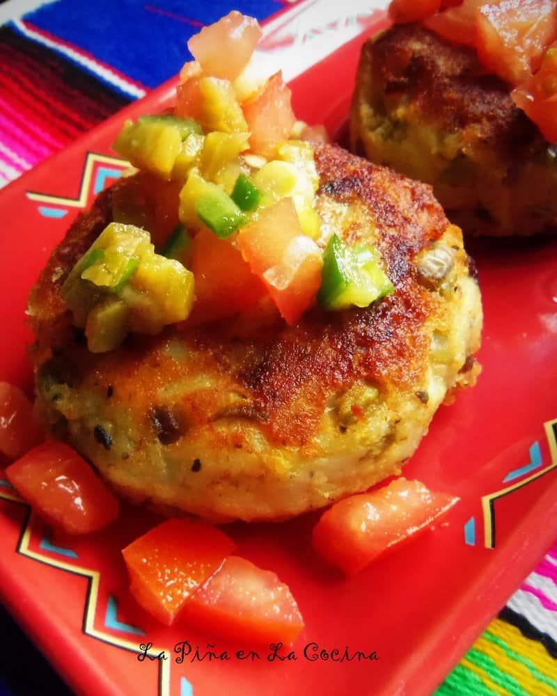 Cheese and Poblano Potato Cakes #potatorecipes #tortitasdepapa