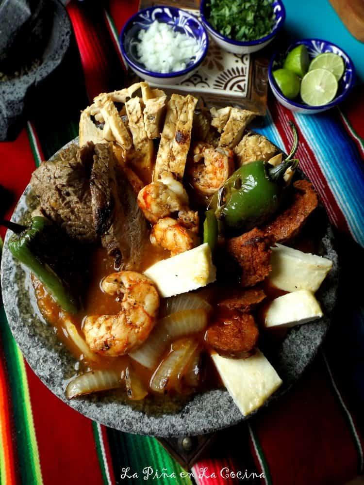 Molcajete-Grilled Steak, Chicken and Shrimp #molcajete