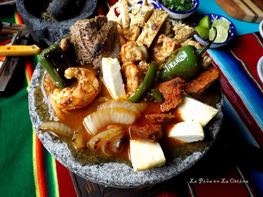 Molcajete-Grilled Steak, Chicken and Shrimp #molcajete
