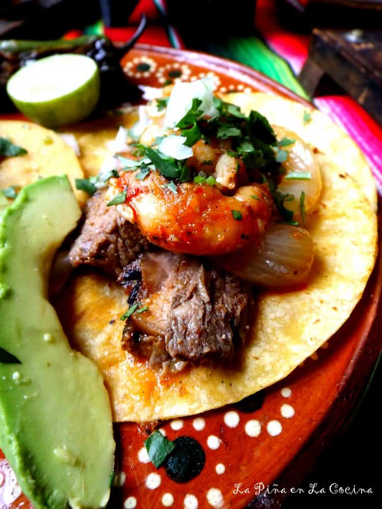 Molcajete-Steak and Shrimp Tacos #molcajete #tacos
